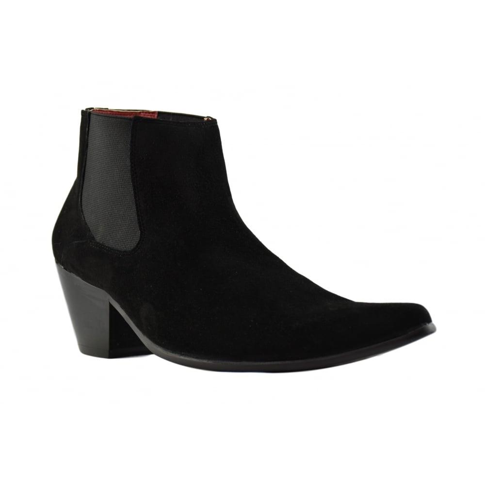 Paolo Vandini Men Black Suede Winklepicker Ankle Boots Gusset Cuban Heel