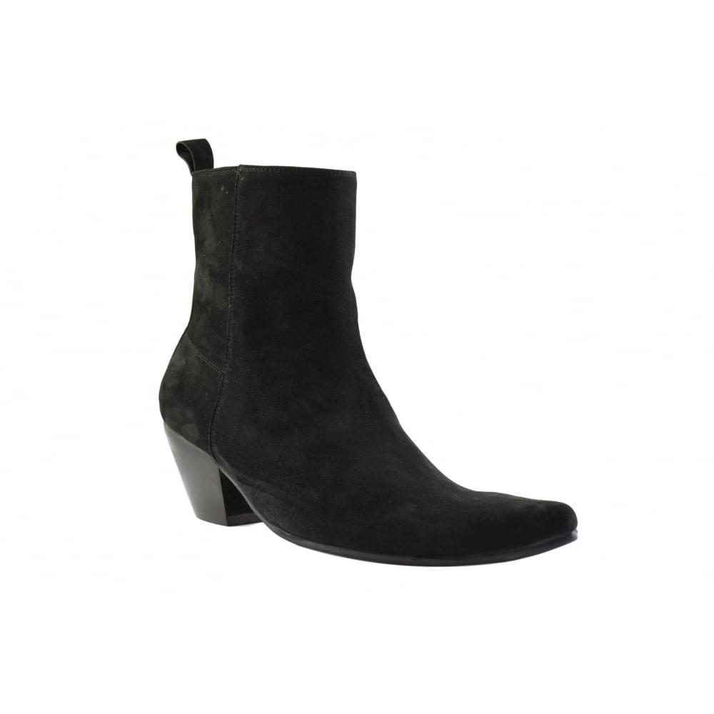 Paolo Vandini Men Suede Winklepicker Ankle Boots Size Zip Cuban Heel