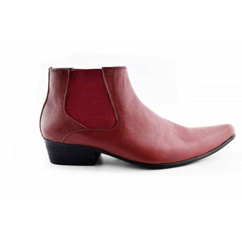 420d1a0147d Red Leather Men's Winklepicker Chelsea Boots Pointed Ankle Boot
