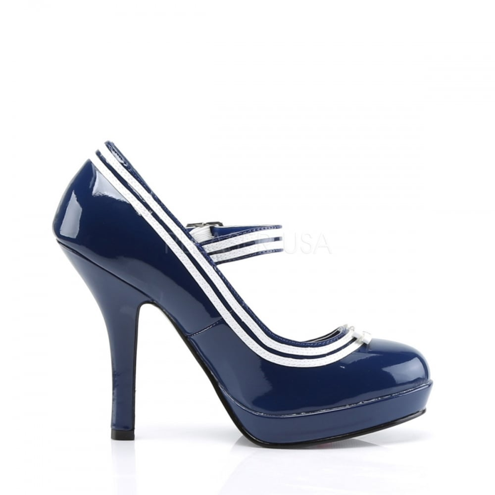21aa7704f17 Secret 15 Ladies Blue Mary Jane Pump Contrast Trim Heel Shoes