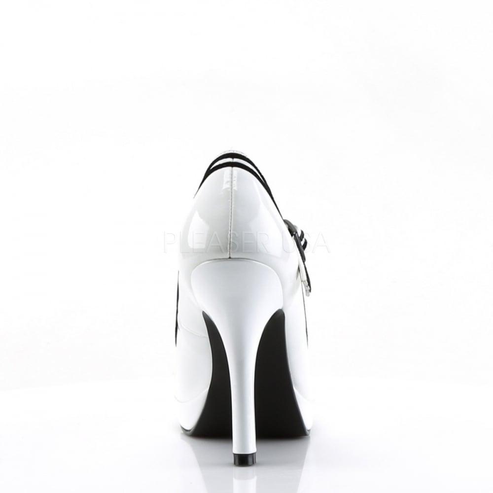 391942bef98 Secret 15 Ladies White Mary Jane Pump Contrast Trim Heel Shoes