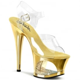 fe34505ac74 Moon 708 Ladies Gold Ankle Strap Cut Out Svarosky Sandal 7