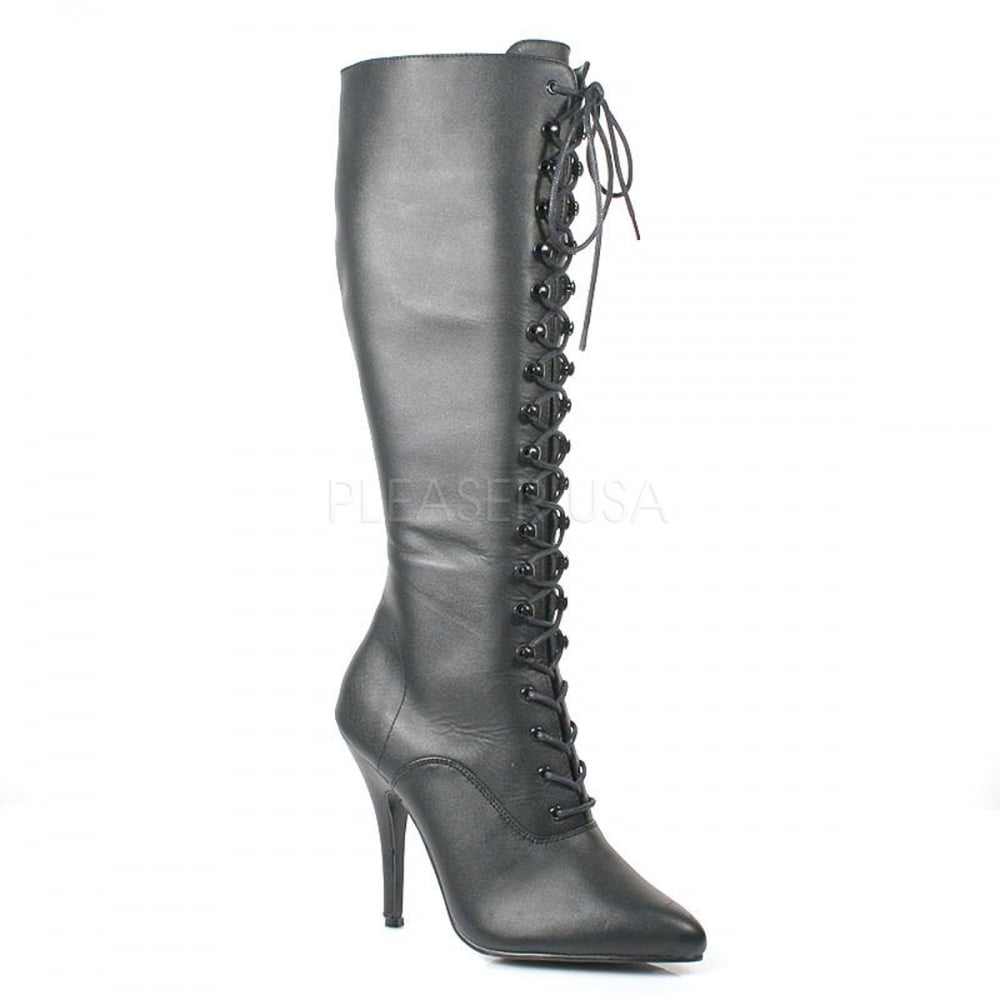 ae11b34217c1 Seduce 2020 Ladies Black Mat Lace Up Stretch Knee Side Zip 5 quot  Heel  Boots
