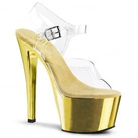 17711289dbf Sky 308 Ladies Gold Chrome Ankle Strap 7