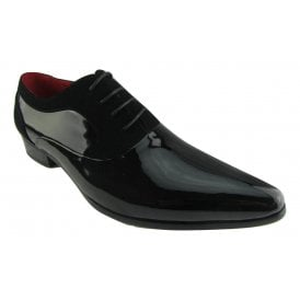 Rossellini Armando Mens Shoes Black Patent Nubuck Lace Up Formal Pointed Shoe