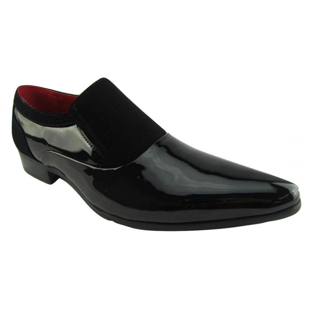 fb4f1dec0827 Rossellini Hackney Men Shoes Black Nubuck Leather Lined Pointed Slip On  Smart