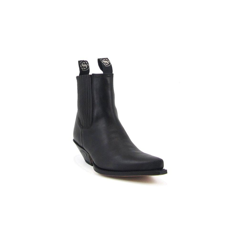 80661c84b9b Sendra 1692 Handmade Men Cowboy Ankle Boots Black Leather Western Biker