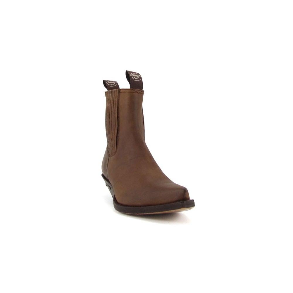 f45494c3d4ca Sendra Handmade Men Cowboy Ankle Boots Brown Leather Western Biker