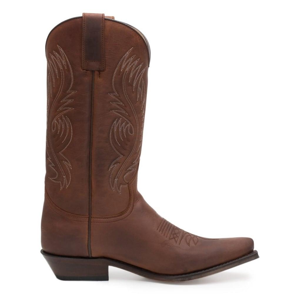 9f6868cea5840 Sendra Handmade Men Cowboy Boots Brown Leather Western Biker