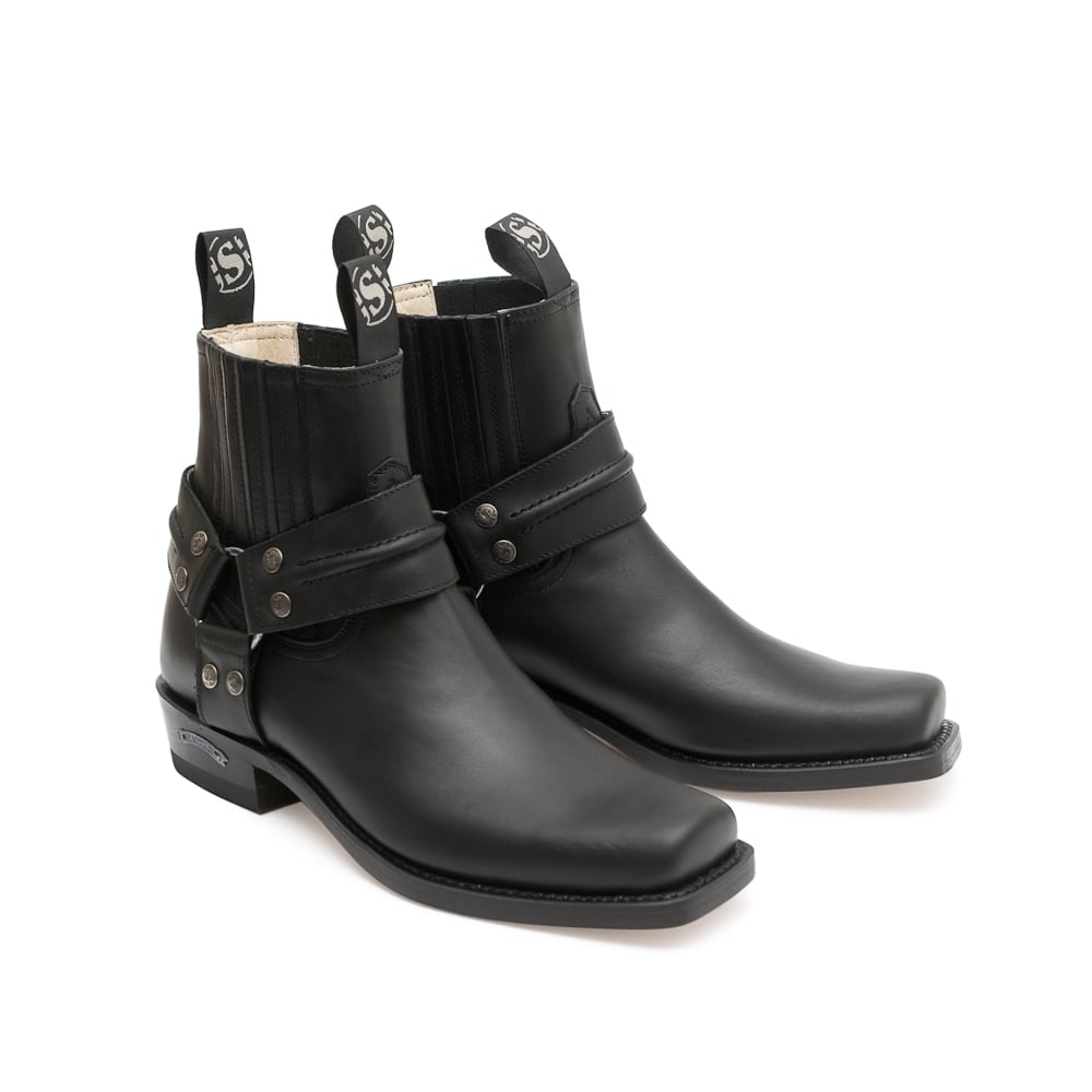 7f51c4a8cb8 Sendra 2746 Handmade Men Cowboy Boots Black Leather Ankle Western Biker