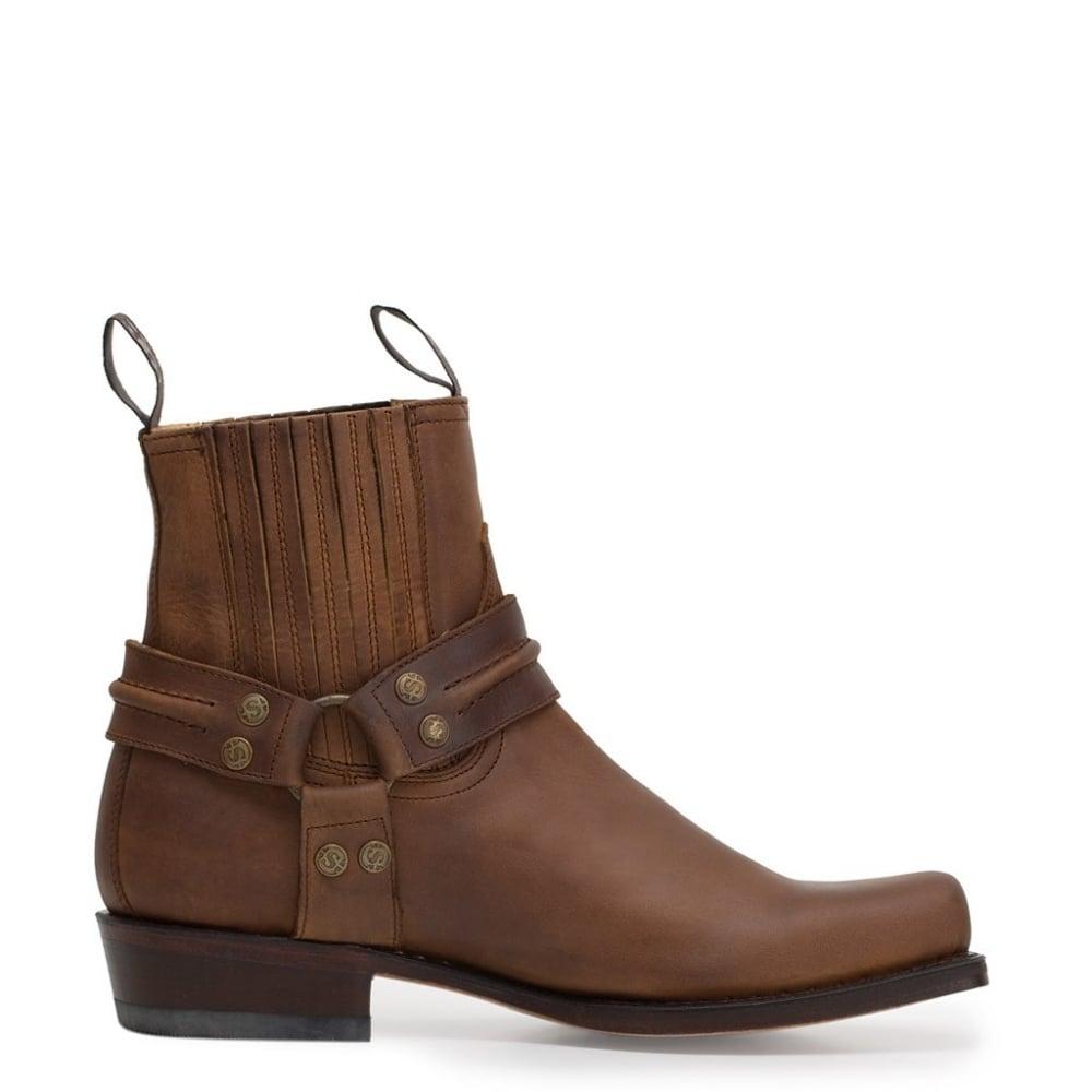 d6feb0b990c Sendra 2746 Handmade Men Cowboy Boots Brown Leather Ankle Western Biker