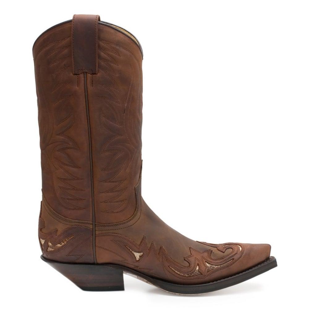 eafe8adaf1a Sendra 3242 Handmade Men Cowboy Boots Brown Leather Real Python Details  Western Biker