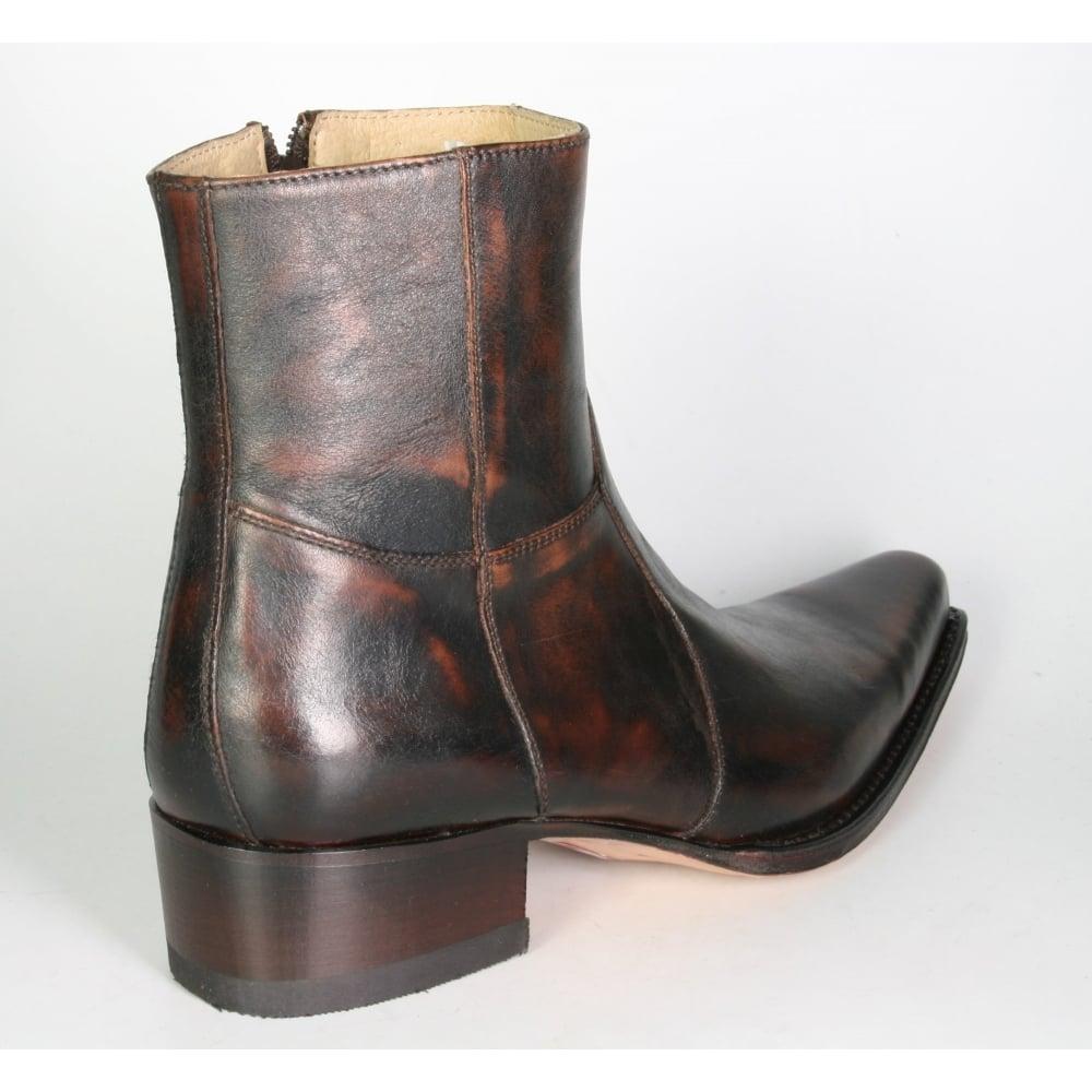 Sendra 5200 Cowboy Boots Brown Shiny Leather Western Biker Handmade Old Look