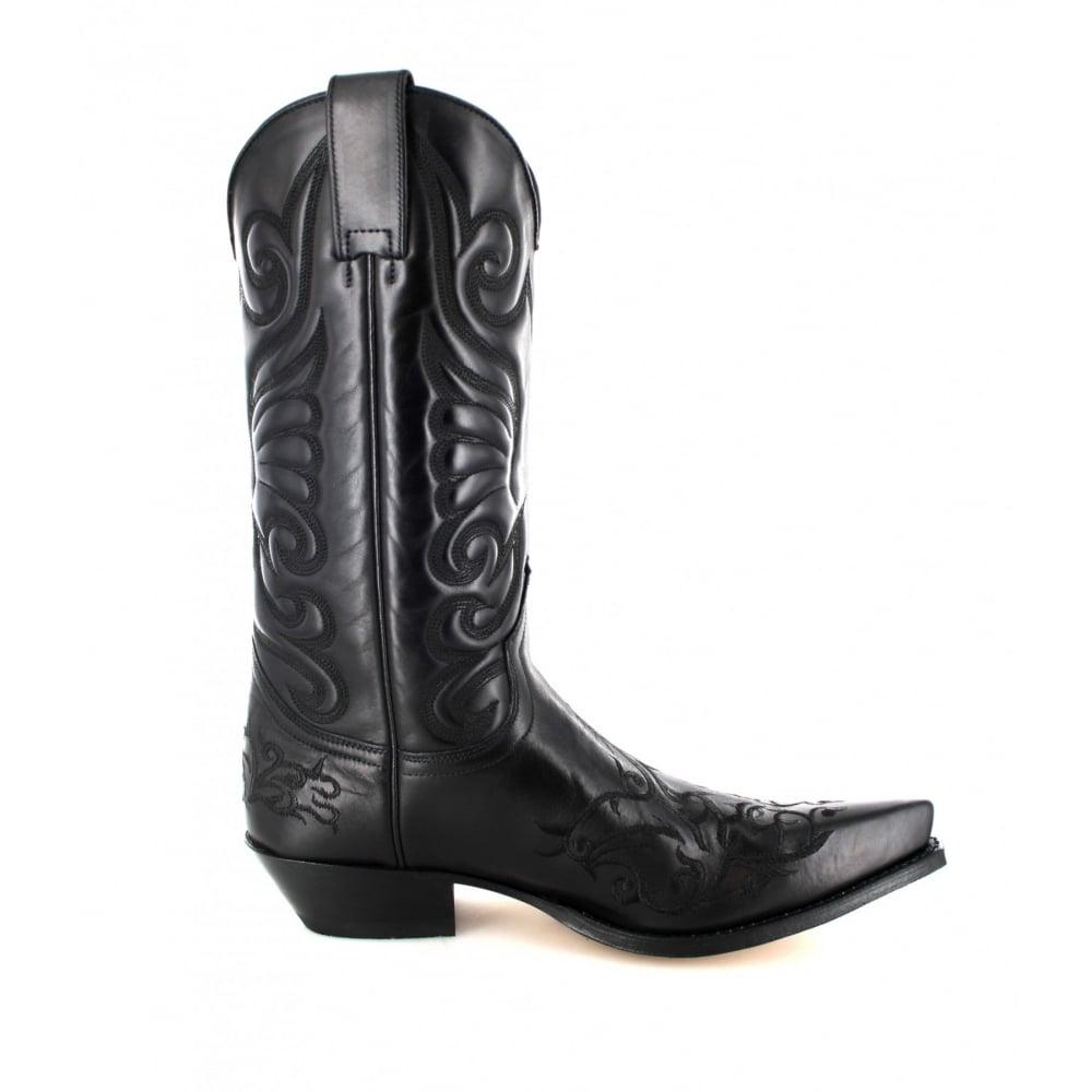 b06584ac8 Sendra Handmade Unisex Round Toe Boots Black Leather Western Biker