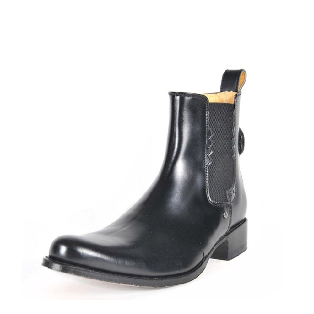 8640 Men Chelsea Boots Black Leather Ankle Biker Men Slip On Rubber Sole 4ff97ea3e538