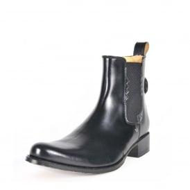 5291535f50637 8640 Men Chelsea Boots Black Leather Ankle Biker Men Slip On Rubber Sole