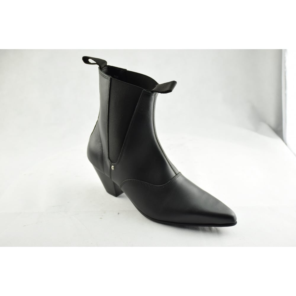 STEEL GROUND Black Leather Beat Boots Cuban Heel Chelsea Ankle Boot bded39037361