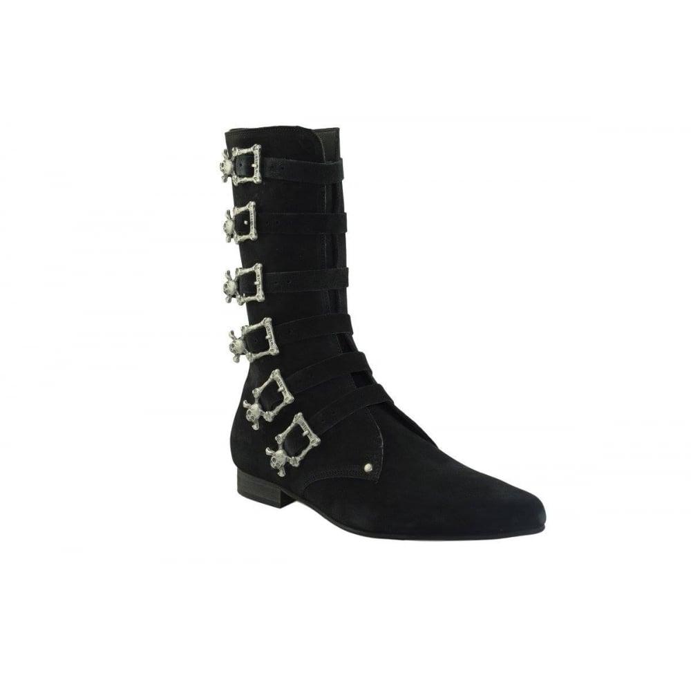 great deals 2017 new list best sale Steel Ground STEEL GROUND Black Suede Winklepicker Calf Goth Boots ...