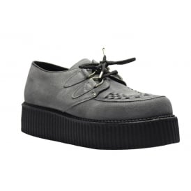 Steel Ground Shoes Black Leather Union Jack Creepers High Sole D Ring Casual