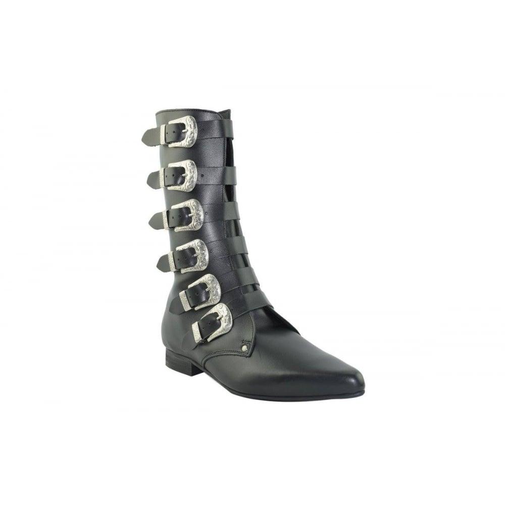 6d9c652332c Steel Ground Unisex Pointed Black Leather Calf Boots 6 Western Bukle Zip  Flat Heel Made In Europe SB-027-Z92.NIK