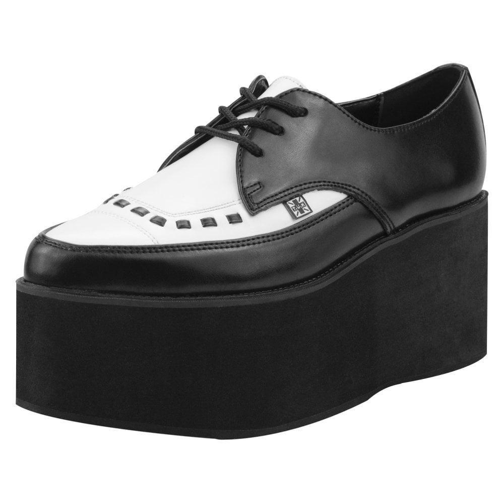 390951d5fb6 A8665 Unisex Shoes Creeperss Platform Black White Leather Tuxedo Eva Pointed